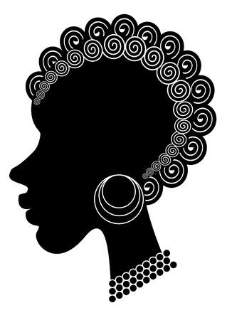 dark hair: preciosa ni�a africana Vectores