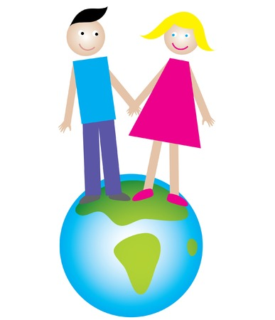 boy and girl on the Earth - show concept of friendship and love Vector
