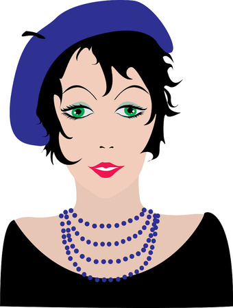French woman in blue beret Vector