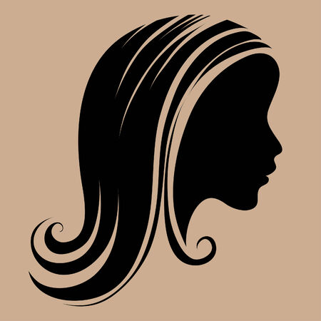 silhouette of a girl with long beautiful hair Stock Vector - 5144855