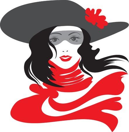 melancholy: Retro mooie vrouw met rode sjaal
