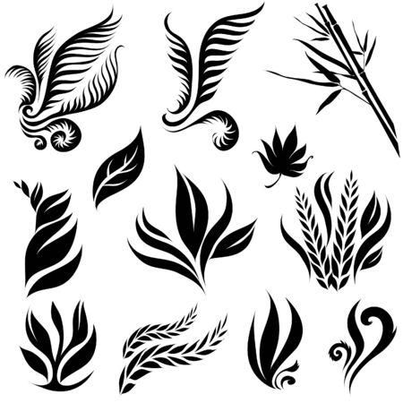 Set of black leaf elements for design