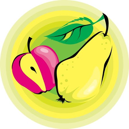 Apple and pear illustration Vector