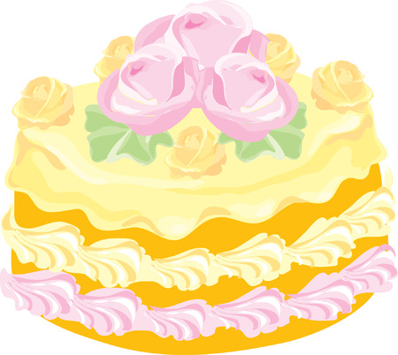 delicious creamy cake with rosettes Stock Vector - 5144798