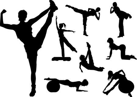 fitness femme en salle de gym silhouette Vecteurs