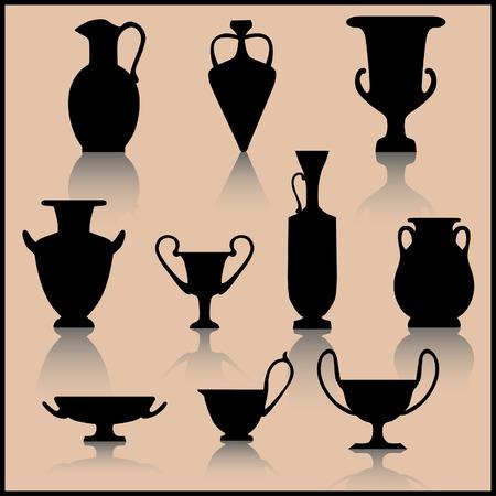 grecian: Set of ancient ceramics silhouette Illustration