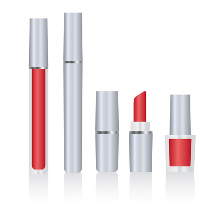 lip stick: Set of silver make-up packages