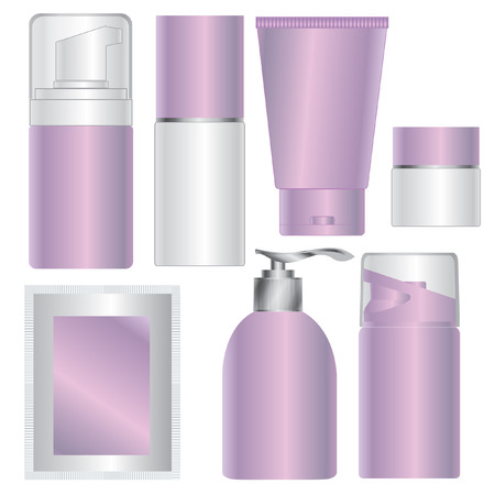 cosmetics collection: set of pink skin care cosmetic packages Illustration