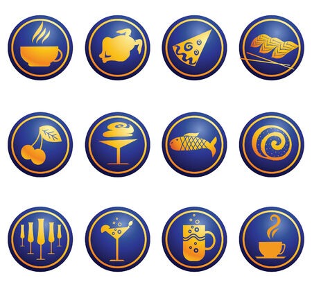 egg cup: Set of cute food and drink web icons Illustration