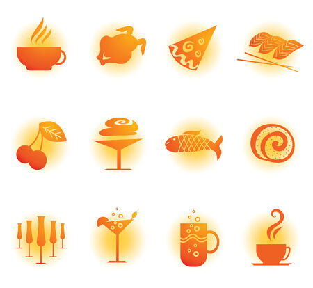 egg cups: Set of cute food and drink web icons Illustration