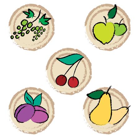 Set of cute friut food Stock Vector - 5145284