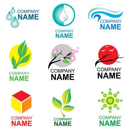 sparare: Set di logo design - natura ed ecologia  Vettoriali
