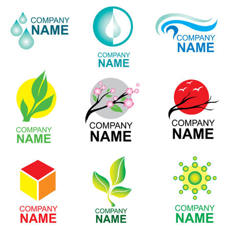 water logo: Set of logo design - nature and ecilogy