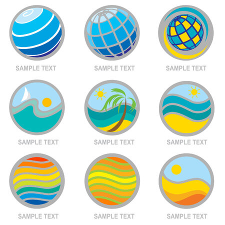 seacoast: Set of brignt travel and vacation icons. Can be used for Travel agency