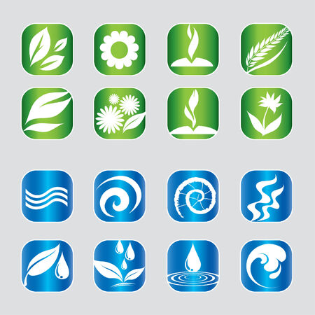 Set of nature web icons 向量圖像