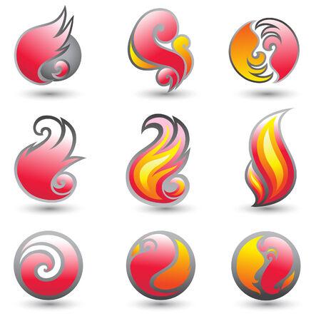 Set of hot fire corporate symbols Vector