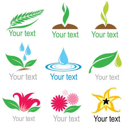 agronomy: Set of natural colorful organic symbols