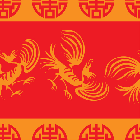 Seamless chinese dragon-bird pattern on striped red background Vector