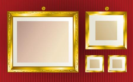 gilded: Background with gold frames Illustration