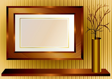 moulding: Background with wooden frame and gold vase Illustration