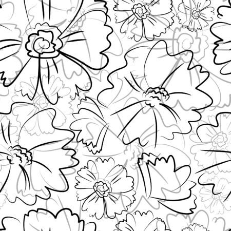 Seamless pattern with freehand black flowers Vector