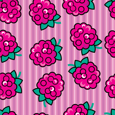 raspberry pink: Seamless cute raspberry pattern