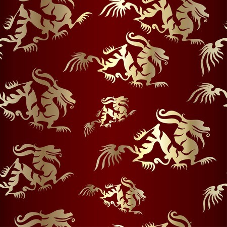 japanese dragon: Seamless Chinese dragon pattern