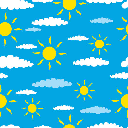 Funny seamless background with clouds and sun Stock Vector - 5145171