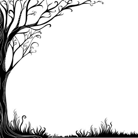 jungle vector: Ornate black background with tree