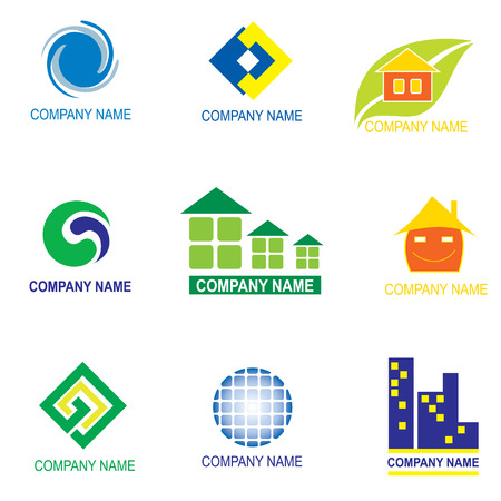 house logo: set of logo design - real estate