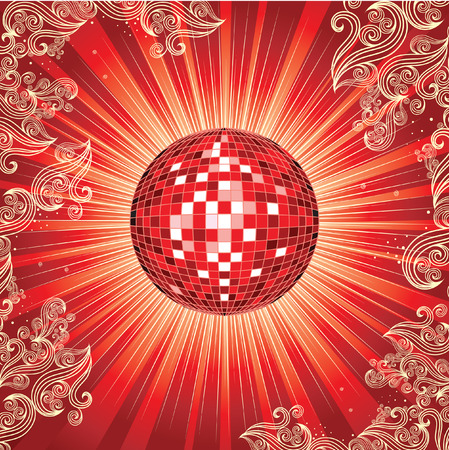 discoball: Background with red shining disco-ball and pattern Illustration