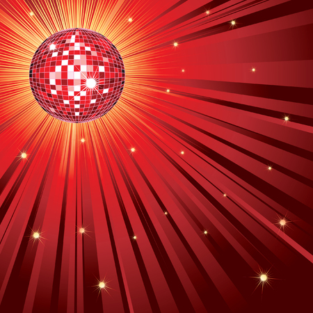 Background with red shining disco-ball Vector