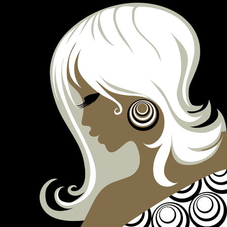 earrings: Closeup decorative vintage woman with beautiful hair Illustration