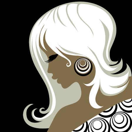 aretes: Closeup decorativos de �poca hermosa mujer con el cabello Vectores
