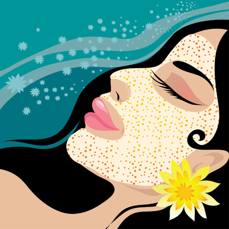 Young beautiful girl relaxing in the SPA resort Vector