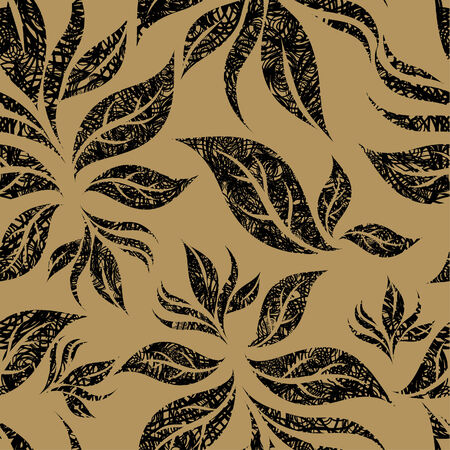 Seamless beige floral pattern with twirled grunge leafs (From my big  Stock Vector - 5163790