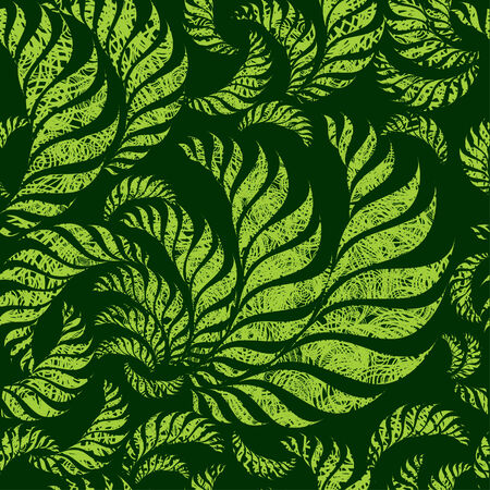 ferns: Seamless green floral pattern with twirled grunge fern leafs (From my big