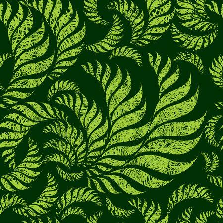 ferns: Sin fisuras patr�n floral verde con hojas de helechos girar grunge (De mi gran Vectores