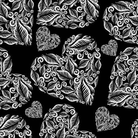 helechos: Sin costuras decorativas coraz�n patr�n. El D�a de San Valent�n. (De mi gran
