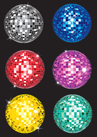 mirrorball: Set of multicolor shining discoball samples Illustration
