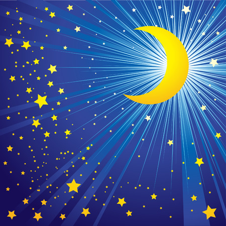 Background with moon on the night sky Stock Vector - 5163780