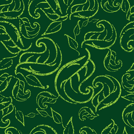 Seamless green floral pattern with twirled grunge leafs (From my big Stock Vector - 5163789