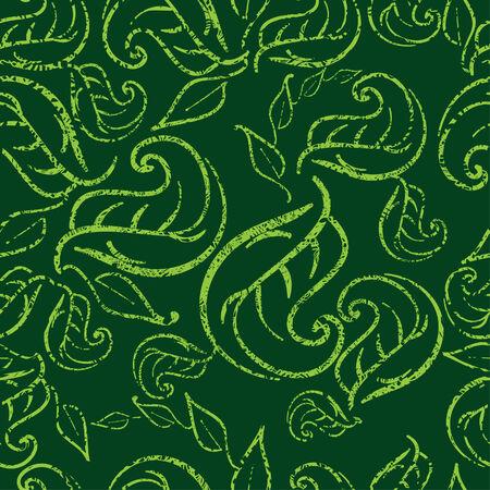 twirled: Seamless pattern floreale verde con foglie twirled grunge (Dal mio grande Vettoriali