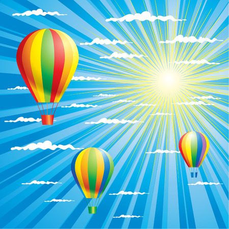 Summer sky background with colorful air-balloons Vector