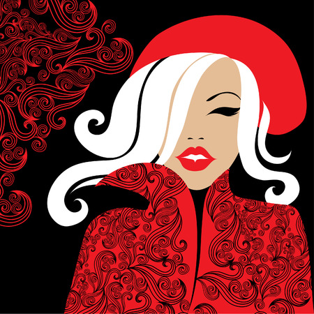 amative: Stylish woman in red Illustration