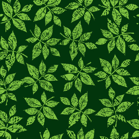 Seamless green floral pattern with twirled grunge leafs (From my big Stock Vector - 5194891