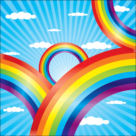 Summer sky background with coloful rainbow Stock Vector - 5194887