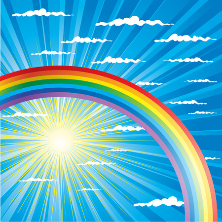 Summer sky background with colorful rainbow Stock Vector - 5194884