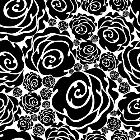 Seamless black grunge rose pattern  (From my big  Stock Vector - 5194889