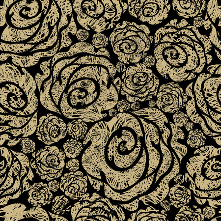 black roses: Seamless beige grunge rose pattern (From my big